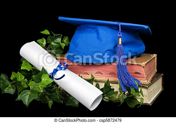Una gorra de graduación azul - csp5872479