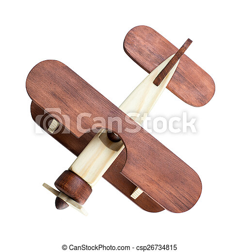 Modelo de avión de madera de primera vista aislado - csp26734815