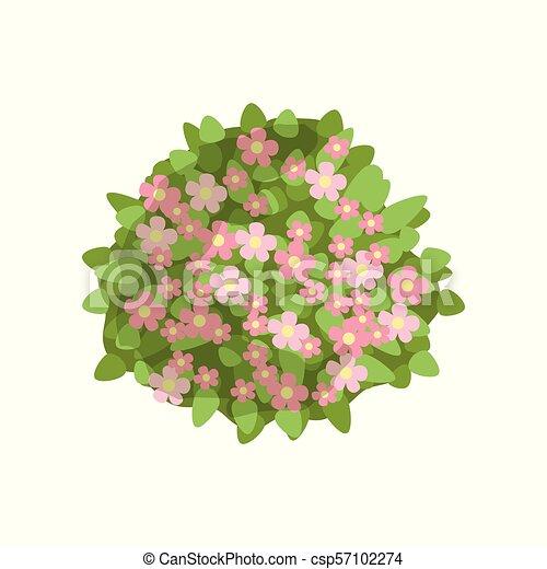 Arbusto verde con flores rosas, elemento de diseño de paisajes, vector superior de la ilustración vectorial en un fondo blanco - csp57102274