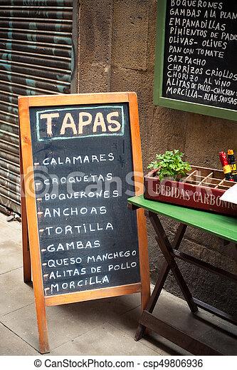 Tapas Bar Sign With Food Choices
