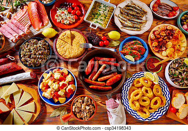tapas from spain mix of most popular tapas from spain varied mix of