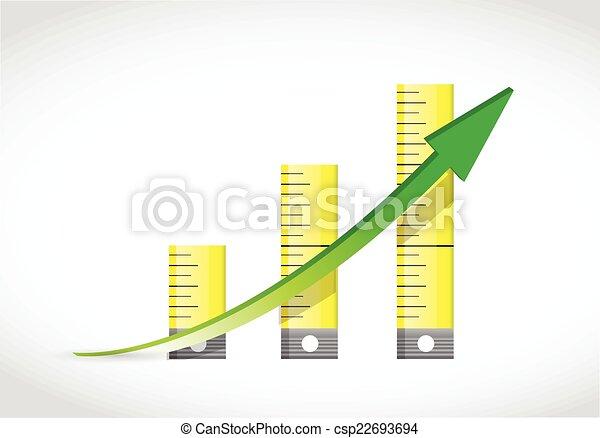 Tape Measure Graph Illustration Design Over A White Background