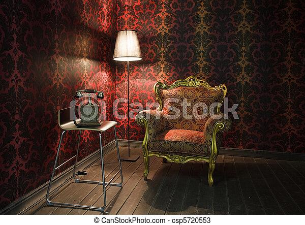 Ecke des Zimmers mit roten Tapeten, Fußbodenlampe und Sessel. Altes Telefon auf dem Stuhl - csp5720553