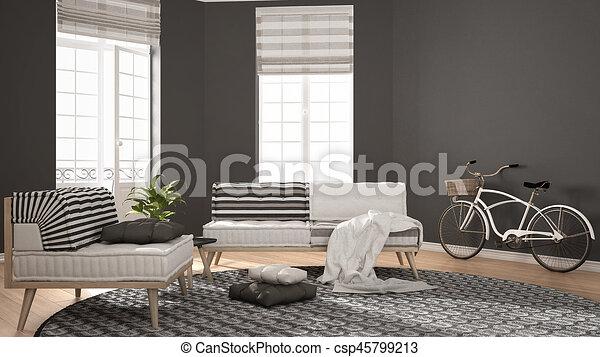 Tapijt, woonkamer, minimalist, leunstoel, moderne, sofa,... clipart ...