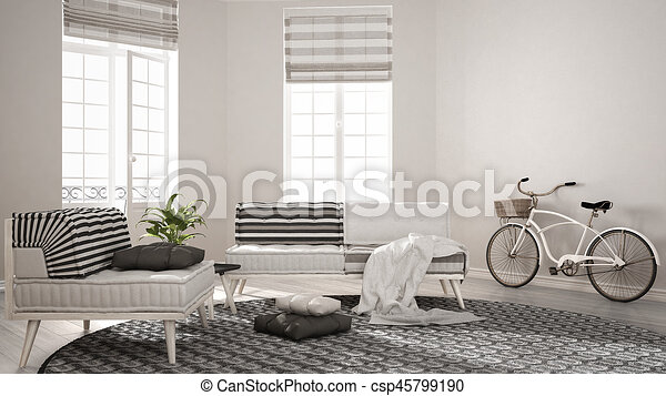 Tapijt, woonkamer, minimalist, leunstoel, moderne, sofa,... stock ...