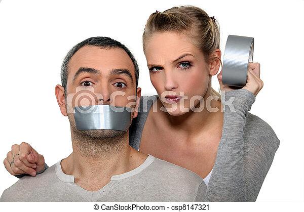 taping-up, אישה, פה, אישים - csp8147321
