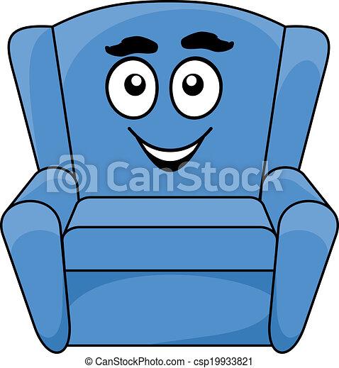 tapissé, bleu, confortable, fauteuil - csp19933821