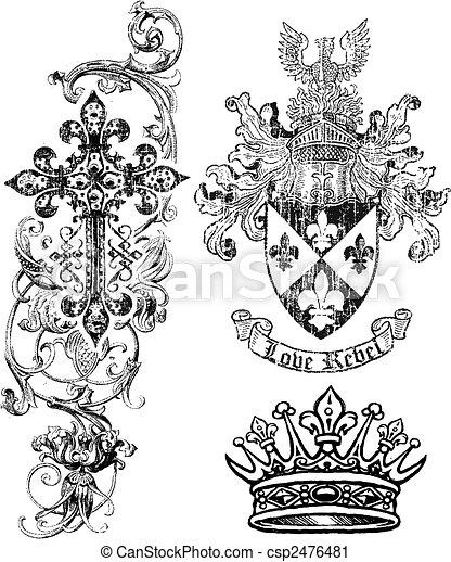 tarcza, królewskość, korona, krzyż, element - csp2476481