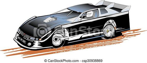 tard, stockez voiture, modèle - csp30938869