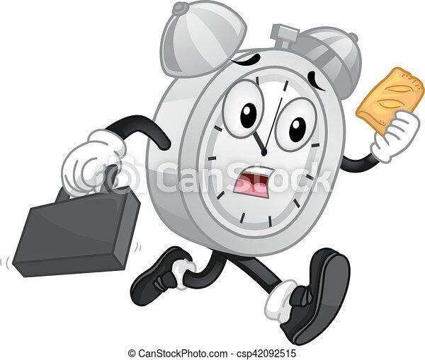 El despertador de Mascot corre pasteles de mano - csp42092515
