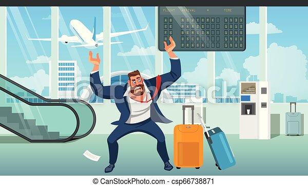 Hombre de negocios tarde en vector de dibujos de aviones - csp66738871