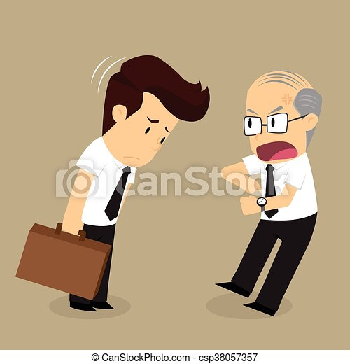 El empresario llega tarde, el jefe se queja - csp38057357