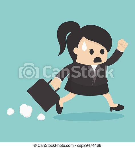 Mujer de negocios tarde al trabajo - csp29474466