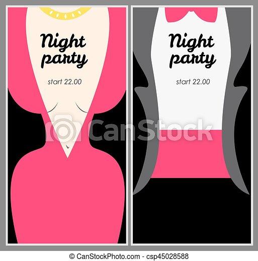 El póster de la fiesta con una mujer vestida de noche rosa y un hombre en T - csp45028588