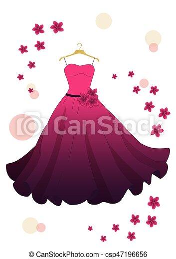 Vestido de noche rosa - csp47196656