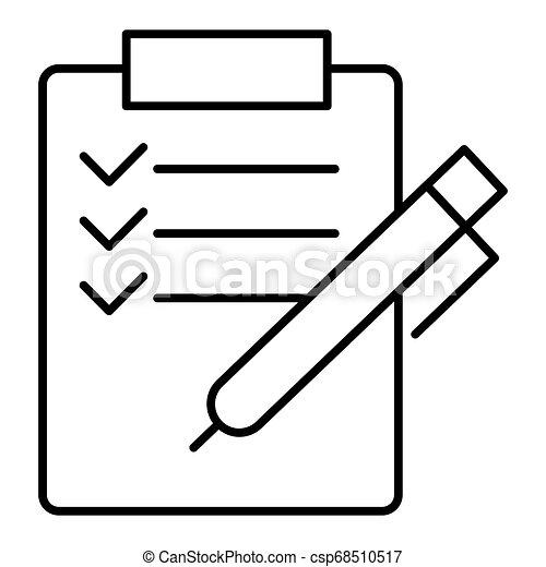 El icono de la lista Vector. Estudio, formulario de solicitud con marcas de cheque, lista de tareas. Señal moderna, pictograma lineal, símbolo de esquema, icono de línea simple - csp68510517