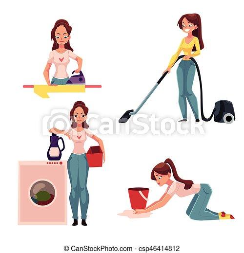 Mujer Ama De Casa Haciendo Tareas Planchando Lavando Limpiando La Aspiradora Limpiando Pisos Mujer Joven Ama De Casa Canstock