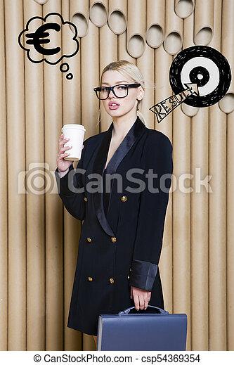 target., スケッチ, 女性の考えること, お金, の上, 印, 見る, 概念, デザイン, 背景, lamps., 泡 - csp54369354