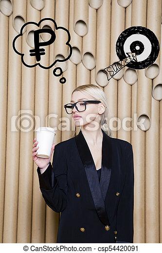 target., スケッチ, 女性の考えること, お金, の上, 印, 見る, 概念, デザイン, 背景, lamps., 泡 - csp54420091
