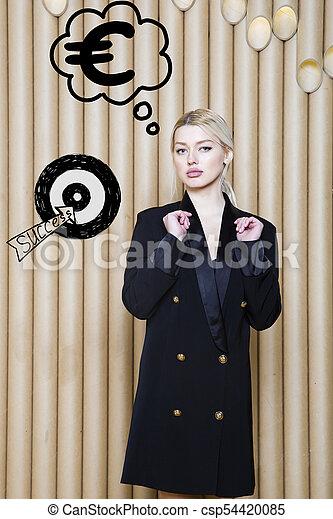 target., スケッチ, 女性の考えること, お金, の上, 印, 見る, 概念, デザイン, 背景, lamps., 泡 - csp54420085
