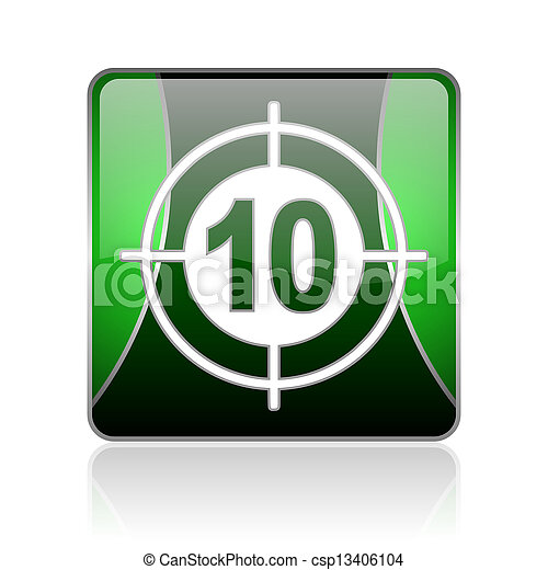 target black and green square web glossy icon - csp13406104