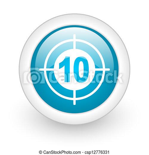 target blue circle glossy web icon on white background - csp12776331