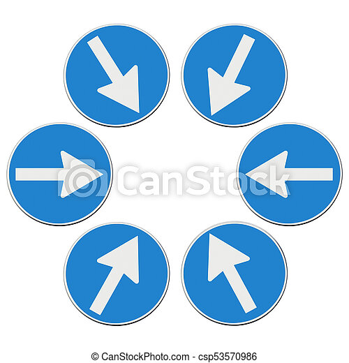 target concept road signs with arrows looking to the center road