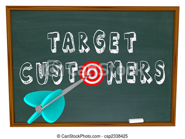 Target Customers - Words on Chalkboard - csp2338425