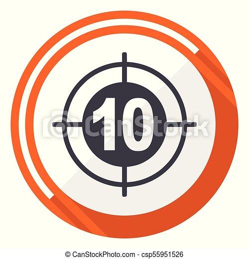 Target flat design vector web icon. Round orange internet button isolated on white background. - csp55951526