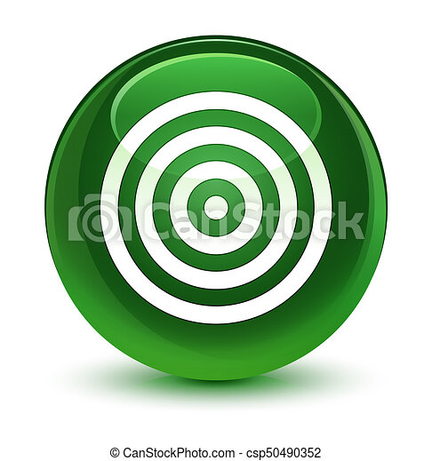 Target icon glassy soft green round button - csp50490352