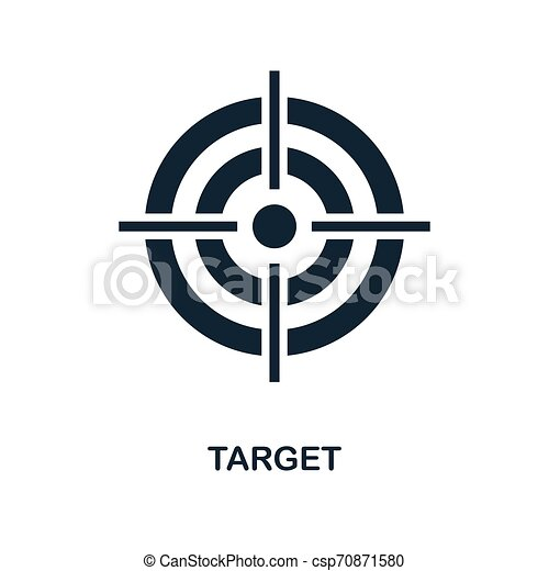 Target icon. Monochrome style design from business icon collection. UI. Pixel perfect simple pictogram target icon. Web design, apps, software, print usage. - csp70871580