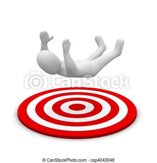 Hombre cayendo al blanco rojo. 3d ilustrado. - csp4043048
