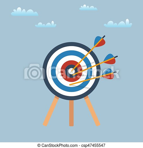 Target with arrows, standing on a tripod. Vector illustration - csp47455547
