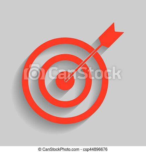 Target with dart. Vector. Red icon with soft shadow on gray background. - csp44896676