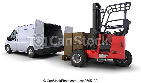 targonca, furgon, berakodás, csereüzlet - csp3695139