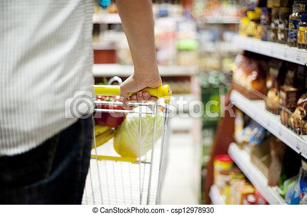 targonca, rámenős, bevásárlás, ember - csp12978930