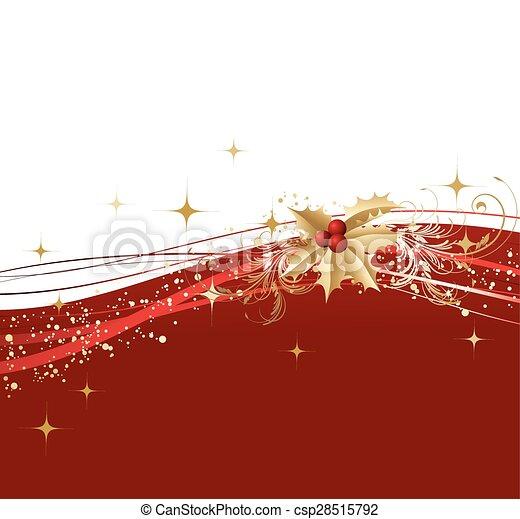 Feliz Navidad con acebo dorado - csp28515792