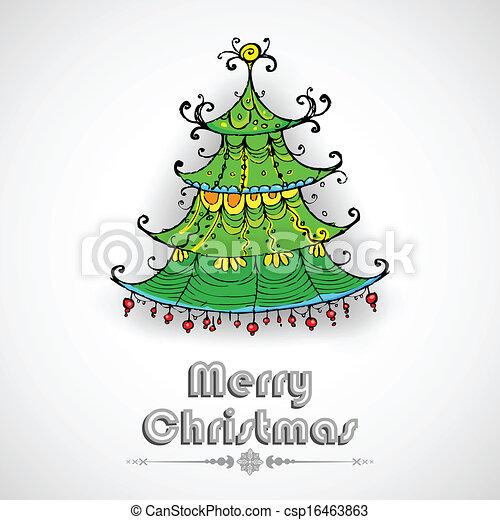 Árbol de pino decorado en tarjeta de Navidad - csp16463863