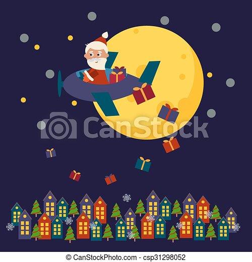 Una tarjeta de Navidad con Santa Claus - csp31298052