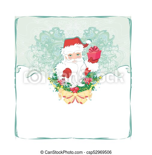 Una tarjeta de Navidad con Santa Claus - csp52969506