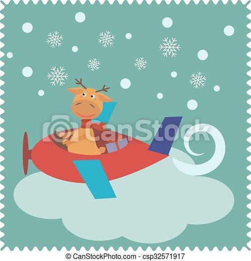 Tarjeta de Navidad con ciervo Santa Claus - csp32571917