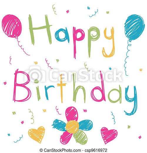 Feliz tarjeta de cumpleaños - csp9616972