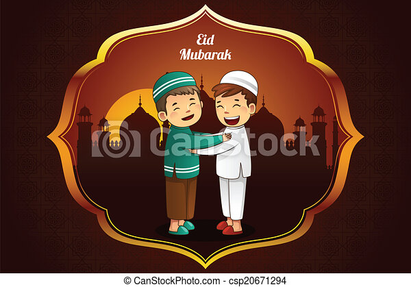Tarjeta de saludo de Eid-al-Fitr - csp20671294