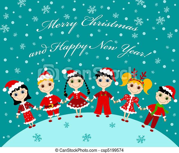 Tarjeta de navidad, niños. Illustration., niños, caricatura ...