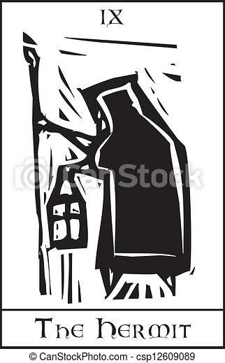 Un ermitaño de cartas Tarot - csp12609089