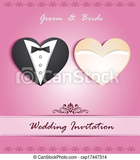 Tarjeta de boda en forma de - csp17447314