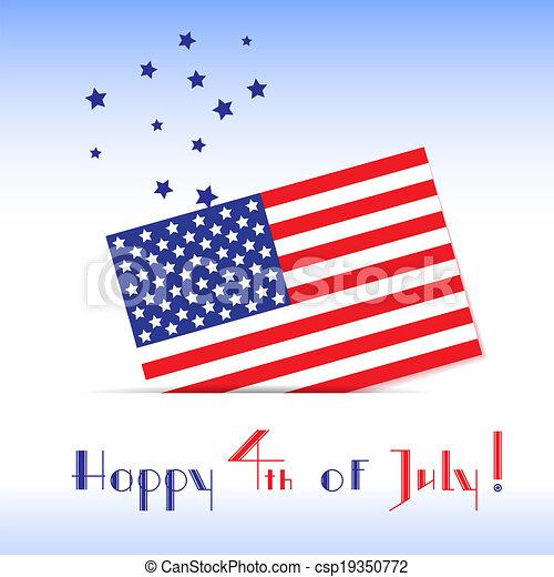 Una tarjeta de felicitación para el día de la independencia americana - csp19350772