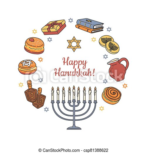 tarjeta, o, isolated., bandera, saludo, feliz, caricatura, hanukkah, vector, ilustración - csp81388622