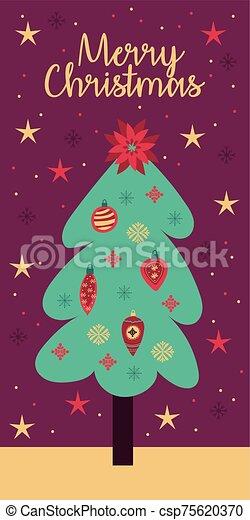 tarjeta, pino, árbol de navidad, alegre - csp75620370