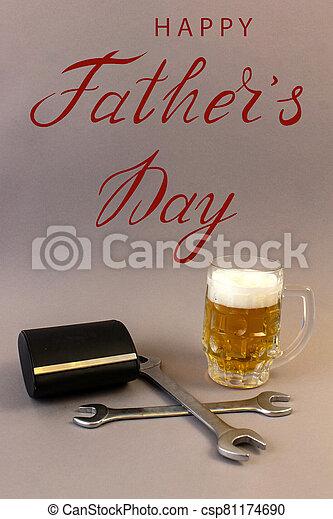 tarjeta, plomero, trabajador, mecánico, día, saludo, constructor, padre - csp81174690